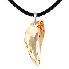 Leather Chain Made With Swarovski Crystal Wolf Fang Charming Long Necklace