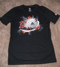 Adidas Climalite Boys Short Sleeve Shirt Black Football Size L 14-16 nb
