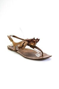 Miu Miu Womens Leather Applique Thong Slingbacks Sandals Brown Size 39.5 9.5