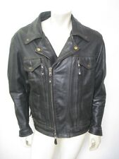 First Manufacturing Co. Black Mastermind Leather Motorcycle Jacket Size XL