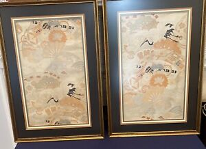 Vintage Framed and Embroidered Asian Textile Art, Birds In Flight, Pastels Cream