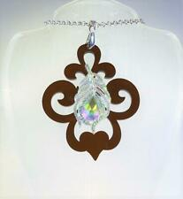 CG6265...ACRYLIC BAROQUE SCROLL NECKLACE - IRIDESCENT PEACOCK FEATHER