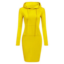 Womens Long Sleeve Hooded Sweatshirt Winter Pullover Jumper Hoodies Midi Dress