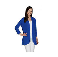 Susan Graver blue liquid knit 3/4 sleeve open front cardigan Size Medium CAREER