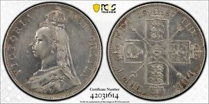 1887 Great Britain Double Florin S-3923 ARABIC 1 PCGS XF Cleaned KM# 763