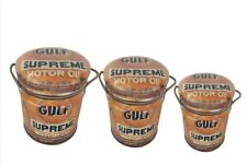 GULF MOTOR OIL Metal Stool or Storage Bin Vintage Retro Seat - Choose Your Size