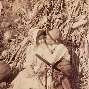 When the Frost is on the Pumpkin and the Fodder in the Shock Kissing Stereoview