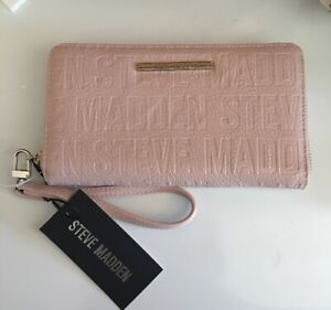 "STEVE MADDEN WALLET WRISTLET BLUSH STAMPED LOGO ""BEAUTIFUL""!!!!"