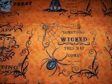 1 Panel EERILLY ELEGANT Deb Strain Moda Fabrics Spider crow skeleton orange blac