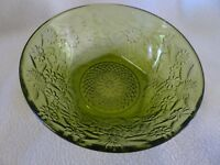 VINTAGE INDIANA DEPRESSION GLASS GREEN PINEAPPLE & FLORAL SERVING BOWL-UNUSED