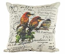One Duck Two Le Jardin linen look cushion cover, birds and French script, Paris
