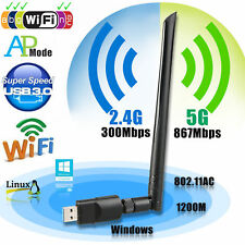 Dual Band 2.4/5Ghz 1200Mbps Wireless USB WiFi Network Adapter w/Antenna 802.11AC