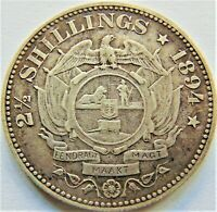 1894 ZAR SOUTH AFRICA, Kruger silver 2 1/2 Shillings grading VERY FINE.
