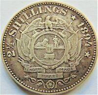 1894 ZAR SOUTH AFRICA, Kruger silver 2 1/2 Shillings grading VERY FINE.