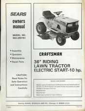 "Factory Craftsman 502.255791 36"" Riding Mower Tractor Owner's Manual Parts List"