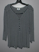 Old Navy Blouse Shirt Womens XL Black White Striped 3/4 Sleeve Buttons Blouse