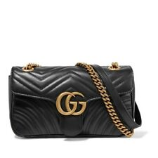 Gucci Chain Marmont Small Quilted Leather Shoulder Black Cross Body Bag
