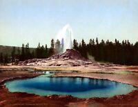 "1898 Castle Geyser Yellowstone Park WY Vintage Photograph 8.5"" x 11"" Reprint"