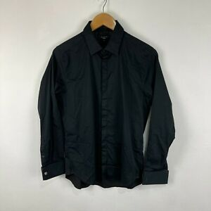 Ted Baker Mens Button Up Shirt 15.5 Small Slim Fit Black Long Sleeve Collared