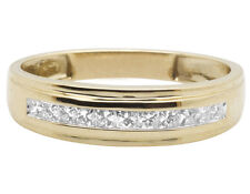 Men's 10K Yellow Gold One-Row Channel Princess Diamond Wedding Band Ring 0.25CT