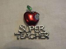 "Beautiful Brooch Pin Silver Tone Apple ""SUPER TEACHER"" Rhinestones NICE"