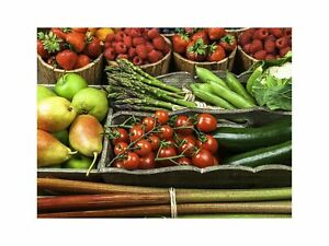 Vegetables and Fruit On Wooden Boxes Kitchen Art Wall Decor Print 2 60x80cm