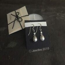 Handmade Swarovski White Crystal Pearl & Bicone Sterling Silver Drop Earrings
