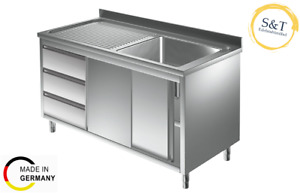 Spülschrank 1 Becken und Schubladen ALLE GRÖßEN Gastrospüle Spüle Edelstahlspüle