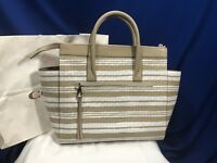 New Coach Bleecker Riley Purse Carryall Tote Fawn White Woven Leather 31002