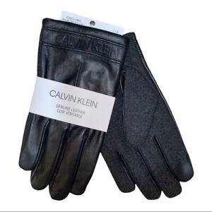 Calvin Klein Men's Melton Mixed-Media Touchscreen Black Leather Gloves Large NWT