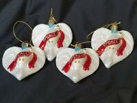 Dove Mercury Glass Ornaments OWC Old World Christmas Set of 4 Peace Angel Heart