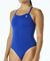 Tyr Elite Womens Solid Diamond Fit One Piece Key Hole Swimsuit Blue Size 34