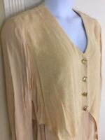 Vintage Fourache Lori Weidner Long Yellow Layered Vest Tunic Crinkled Top