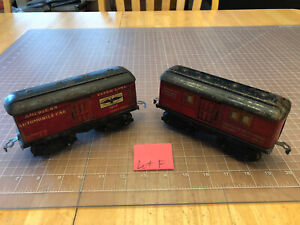 American Flyer Prewar O Train RED 1112 Automobile and 1205 US Mail PO Cars LOT F