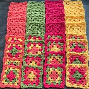 New x 36 Colourful Yellow Green Pink Coral Handmade Crochet Granny Squares
