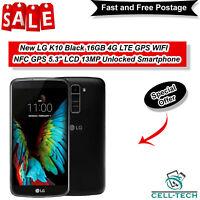 "New LG K10 Black 16GB 4G LTE GPS WIFI NFC GPS 5.3"" LCD 13MP Unlocked Smartphone"