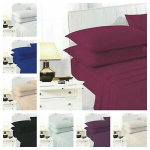 Percale Polycotton Flat Bed Sheet Fitted Sheets 100% Poly Cotton S / D / K / SK