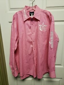 Wrangler Mens Championship Pro Rodeo Shirt Size 1X Pink Long Sleeves Embroidery
