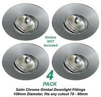 4 x Satin Chrome Gimble Downlight Fittings 12V MR16 Gimbal - 109mm Diameter