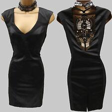 Karen Millen Fabric Block Macrame Tunic Dress Black Beaded DM124 Ladies Size 10