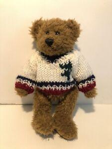 "CHRISHA Playful Plush 8"" Teddy Bear Stuffed Animal Jointed Legs Knit Sweater"