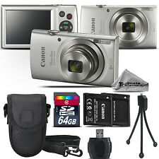 Canon PowerShot ELPH 180 Digital Camera Silver 8x Optical Zoom - 64GB Kit Bundle