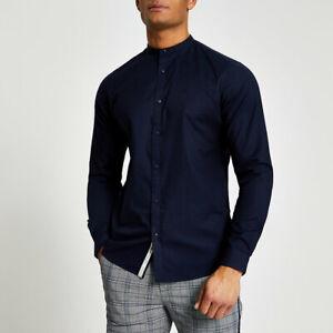 River Island Mens Navy Grandad Collar Muscle Fit Oxford Shirt