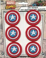 CAPTAIN AMERICA Shield 6 EMBROIDERED IRON-ON MINI PATCH SET pmvl38s Marvel Comic