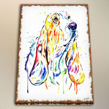Modern art Watercolor painting Print Canvas basset hound room decoration 24x32