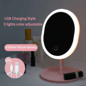 Led Makeup USB Storage Face Mirror Adjustable Touch Dimmer Desk Cosmetic pink