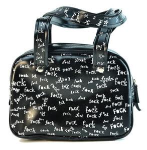 Black Fcuk Satchel Bag Punk Goth Rockabilly Pinup Style