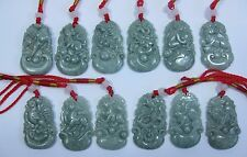 Natural green jade carved Chinese 12 Zodiac ( twelve different animals) pendant
