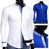 Mens Grandad Shirt Casual Stand up Collar Slim Fit Cotton White Blue Embroidered