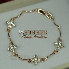 18CT Rose Gold Plated Sparkling Flower Bracelet Made With SWAROVSKI CRYSTALS